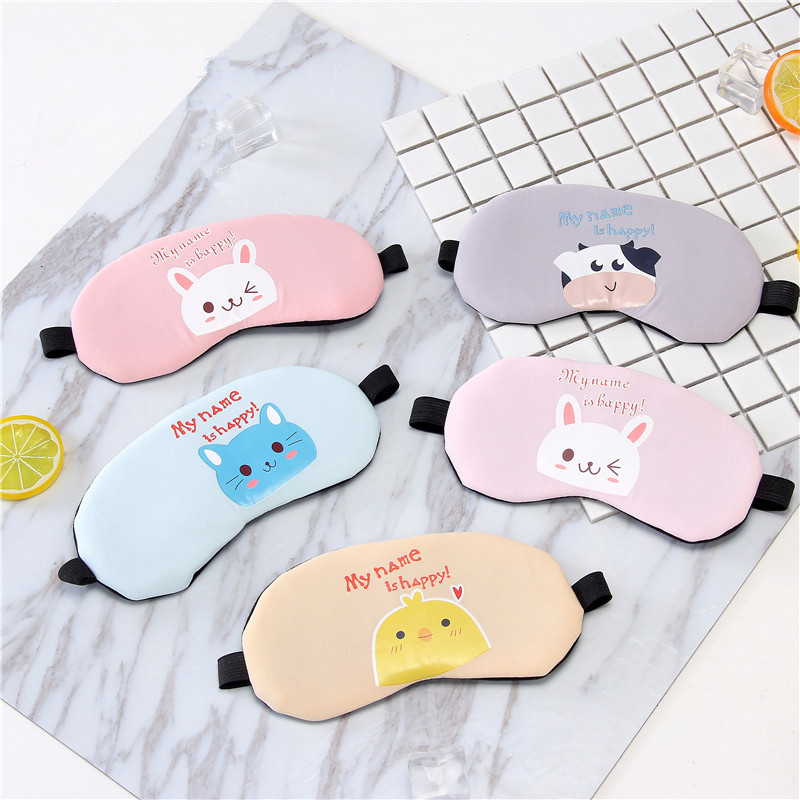 Wholesale fashion custom soft travel rest nap eye shade cover blindfold eye patch ventilate sleeping cartoon silk eye mask