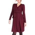Factory Supply Fall Casual Crossover V Neck Long Sleeve A Line Nursing Pregnancy Women Maternity Dress Red Clothing With Sashes