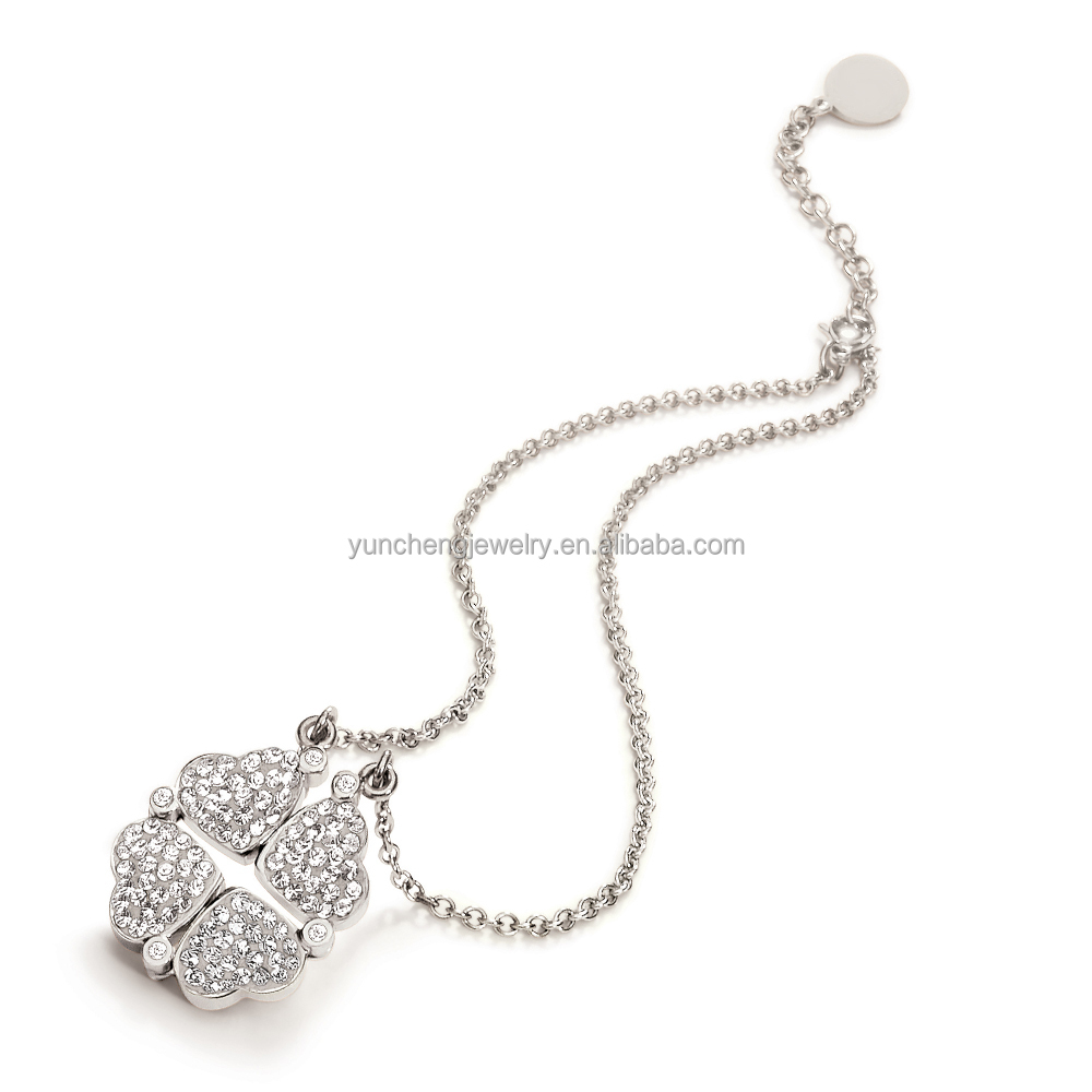 YCN6617 Fashiom FourLeaf Clover 925 Sterling Silver Necklace Jewelry with Shiny CZ
