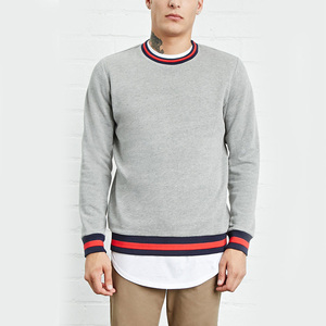 Men oversized sweatshirt wholesale custom stripe casual pullover style crewneck men printing logo sweatshirt without hood