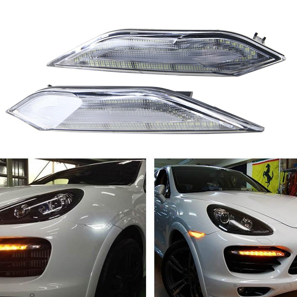 NSLUMO Euro Style Clear Lens Amber/White Switchback LED Side Markers For Porsche Cayenne 2011-2014 Indicator Turning Light+Running