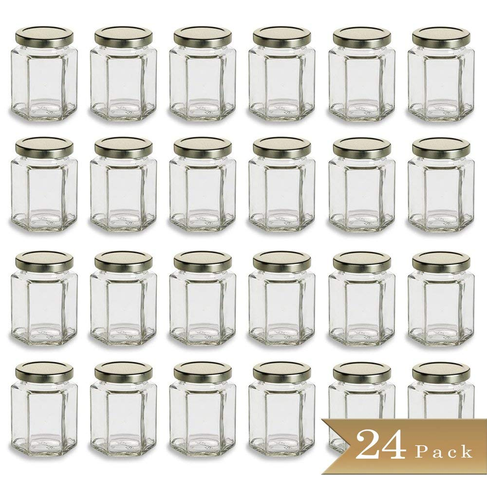 24 - TrueCraftware Large 6 oz Hexagon Glass Jars with Gold Covers - Pack of 24 - Jars for Jams, Honey, Sauces, Spices