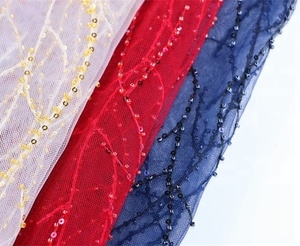 Characteristic beads and sequins ornament african tulle lace fabric