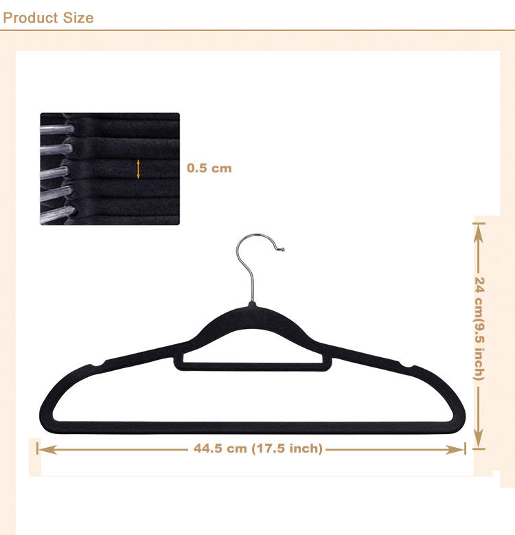 wholesale Fashion Space Saving Non-Slip Suit Dress Velvet Clothes Hangers