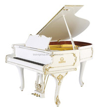 Bisini 88 Baby Grand Piano chaves Design Antigo Branco Polido