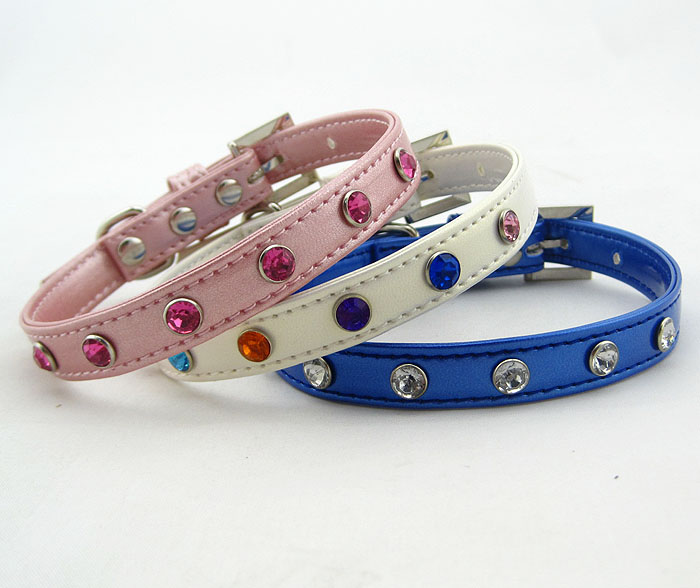 Pet supply Line Rhinestones Blank Dog Collar Pet Products