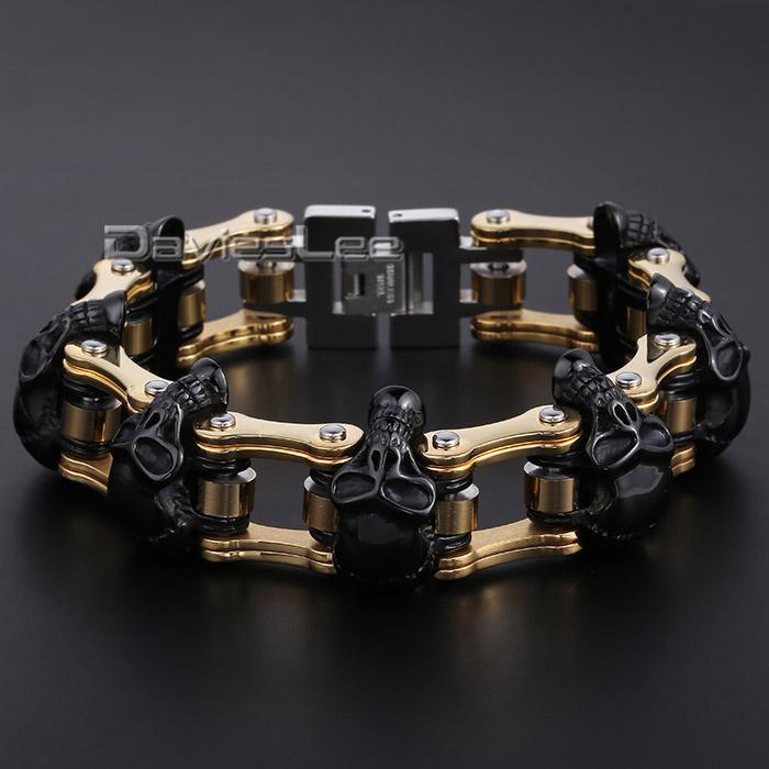 HEAVY Boys Mens Chain Skull Black Gold Silver Tone Biker Motorcycle Link 316L Stainless Steel Bracelet
