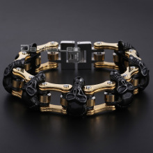 Gift 18mm HEAVY Boys Mens Chain Skull Black Gold Silver Tone Biker Motorcycle Link 316L Stainless Steel Bracelet DLHBM62