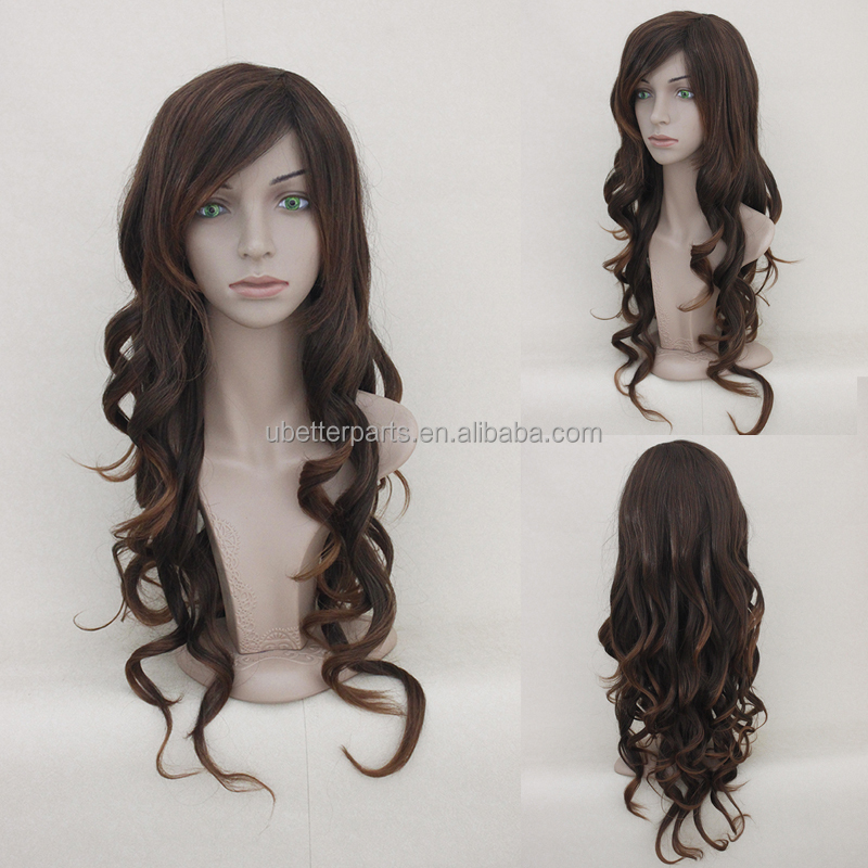 Synthetic Wigs Women's Long Curly Brown Wig Heat Resistant Fiber African American Wig For Women High Quality Factory Pirce