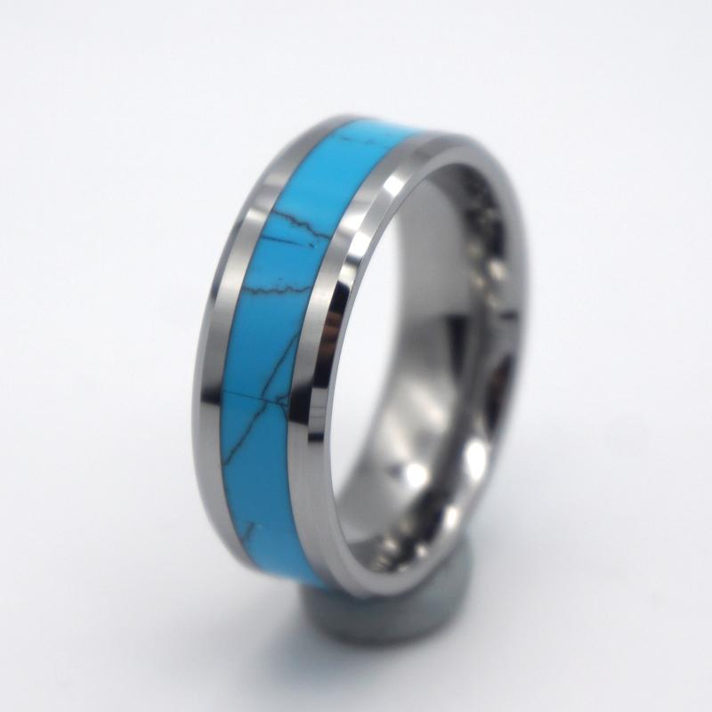 مصنع المجوهرات الفيروز البطانة حلقة كربيد التنغستن للرجال