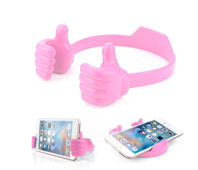 Cute Thumbs Up Adjustable Tpu Flexible Mobile Cell Phone Tablet Kindle Fire Display Stand Holder for Bed Desk