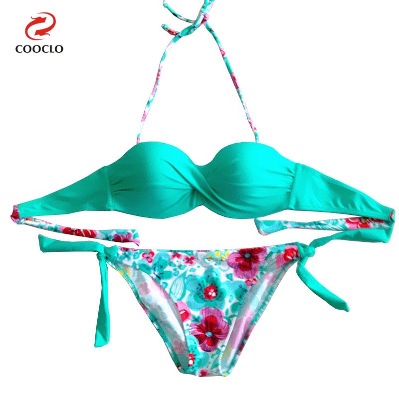 a92926ec4 hot sale floral print bikini bandeau top sexy bikini women swimwear multi  color biquinis brazilian new