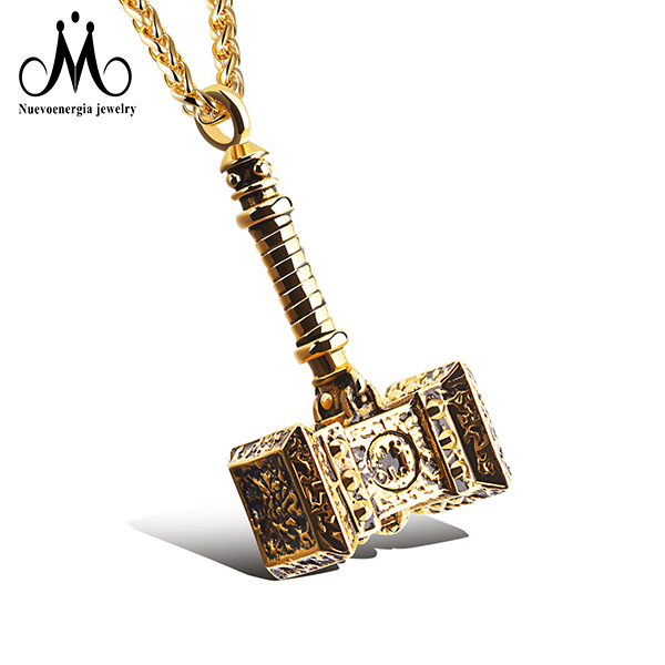 Guangzhou Nuevoenergia Jewelry 316L Stainless Steel Charm Thor Hammer Gold Pendant фото