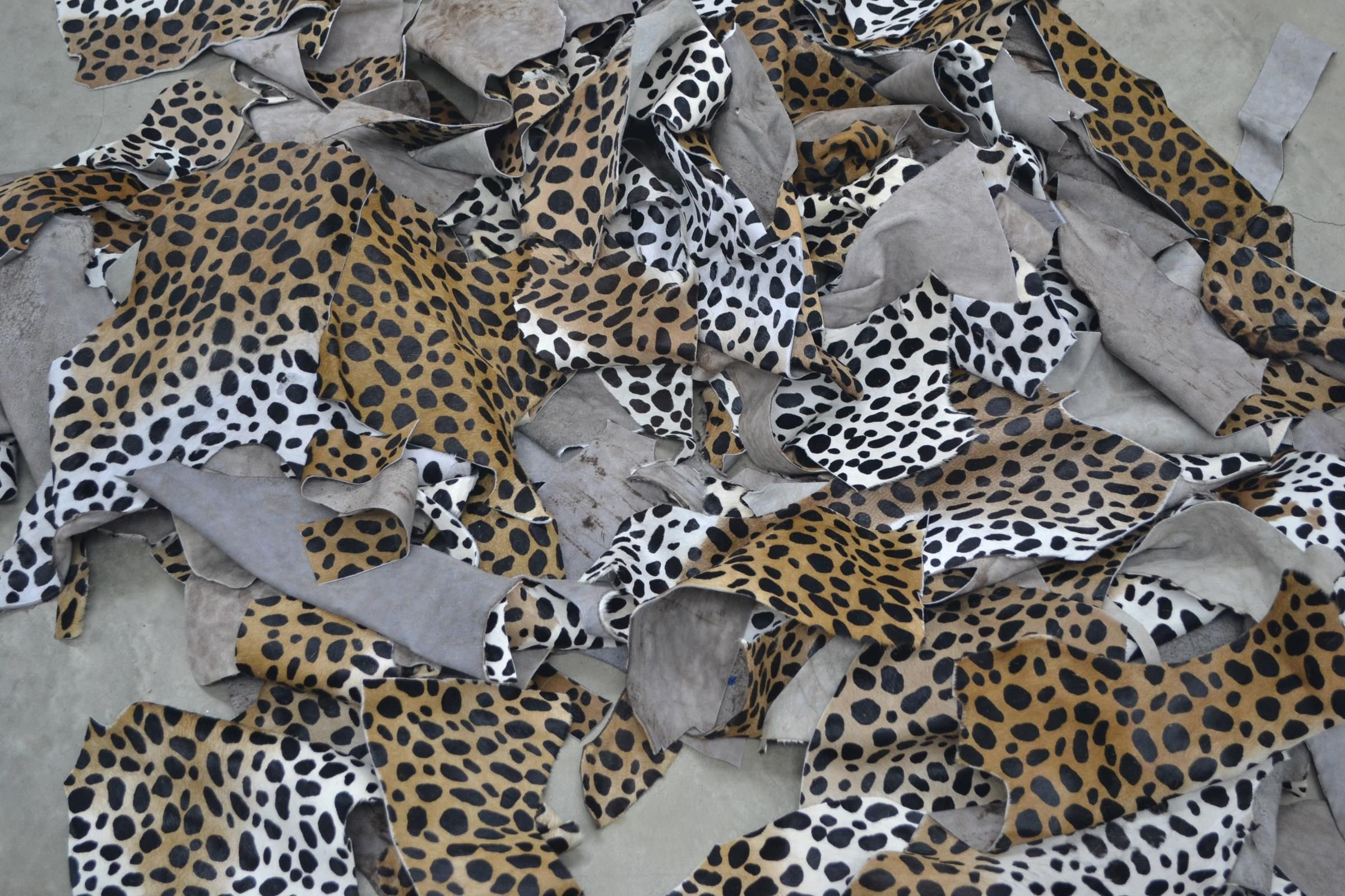 Leather Exotic Scrap 1 pound Hair on Cowhide remnants Cheetah print (38745: )