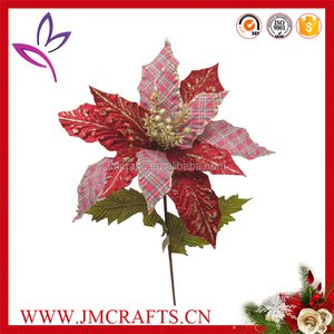 Christmas decorative fabric man made poinsettia flower with different pattern petal