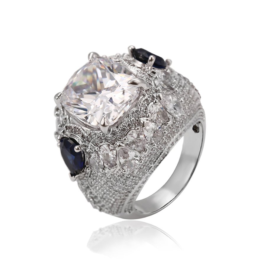14514 Xuping square finger ring, eight heart eight arrow Synthetic CZ stone ring фото