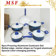 MSF6802 9pcs Pressing aluminum cookware set rolled edge shape similar shape as forged aluminum cookware share competitive price