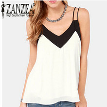 2015 Summer Style Sexy Womens Sleeveless Halter Blouses Casual Vest Loose Chiffon Blouse V Neck Tank Tops Plus Size White