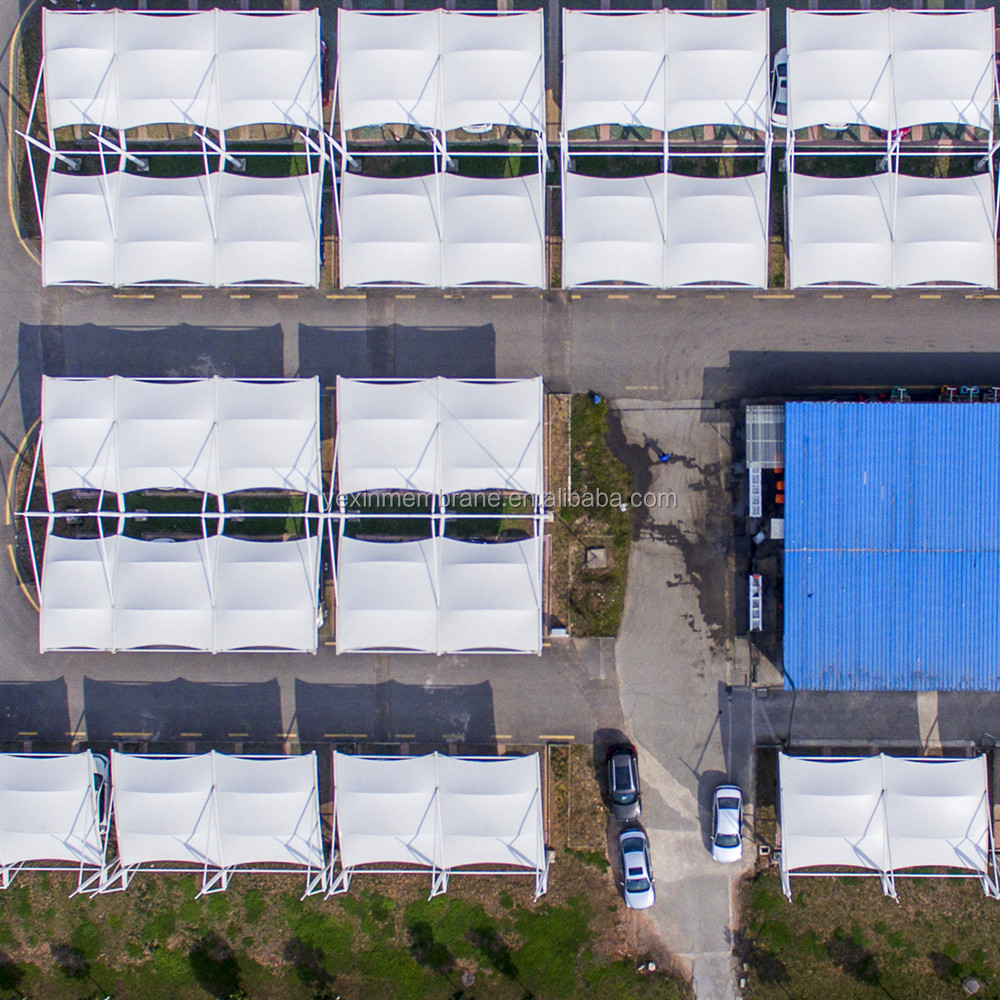 Tensile PTFE Membrane carport PTFE /PVDF structure car parking with Design and steel structure