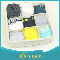 Linen material underwear storage box with handle