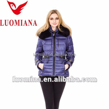 Classical short purple women goose down jacket with fur