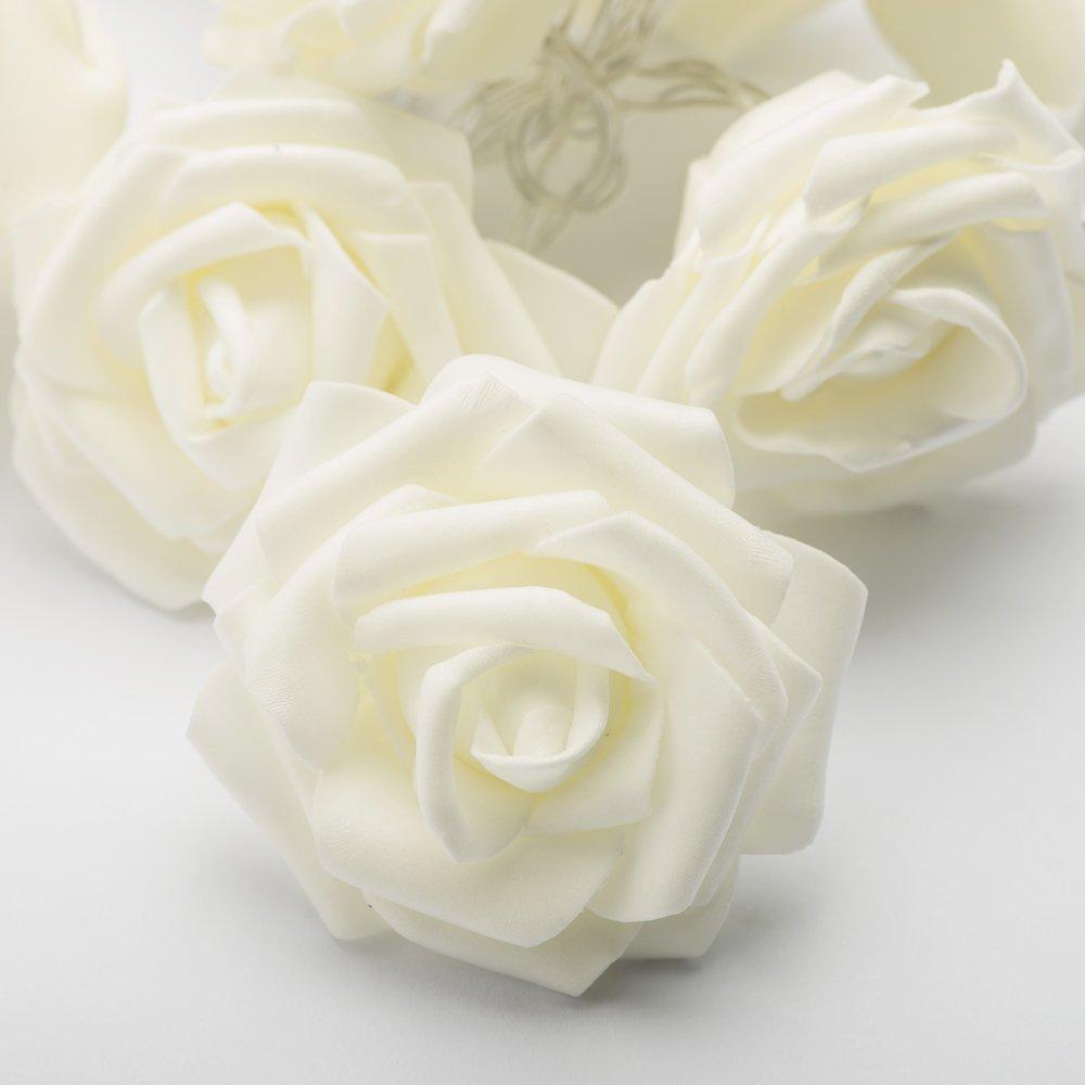 White Rose Flower Led Battery Fairy String Lights For Wedding