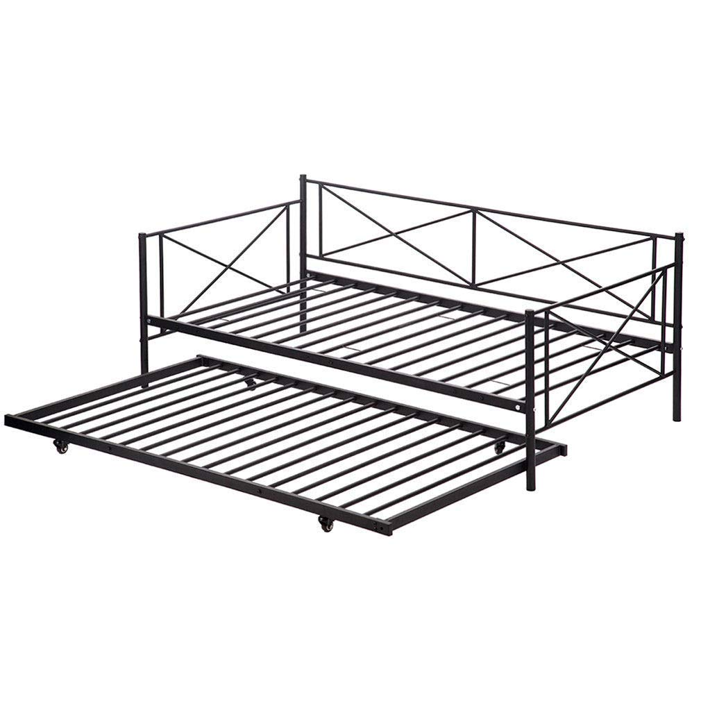 oldzon Twin Size Metal Bed Framed W/Trundle Sofa Daybed Frame Home with Ebook