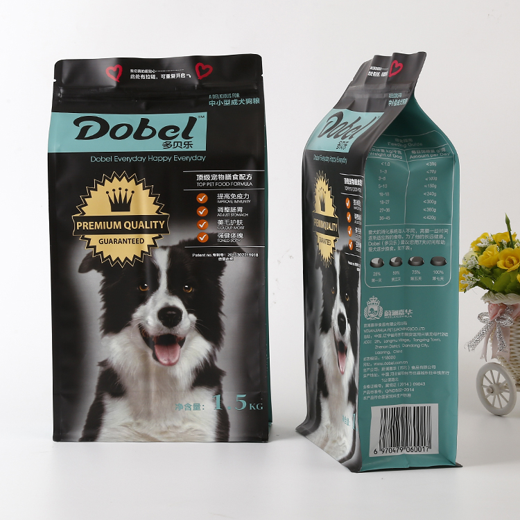 Natural Custom Printed stand up dry dog food pouches / Pet Snacks packaging bags with zipper