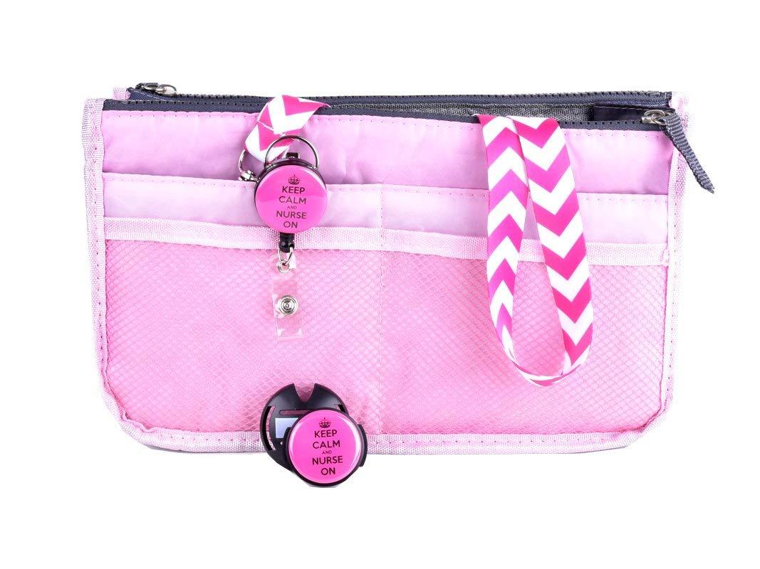 Sizzle City Nurse Badge Holder, Nurse Badge Reel, Retractable Badge Clip, Handbag Organizer, Stethoscope Name tag (Nurse Gift Set_Pink)