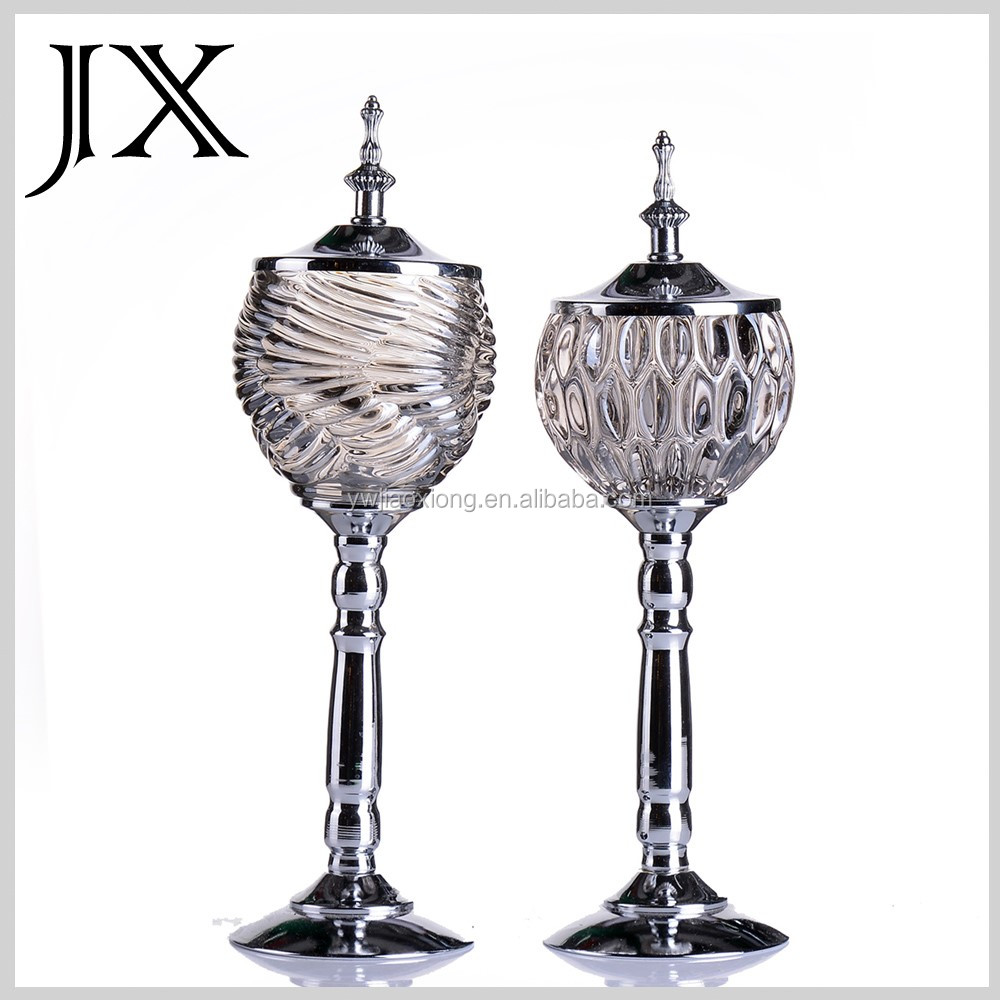 Crystal glass candelabra globes wedding centerpieces with