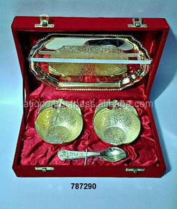 Brass Dry Fruit Bowl Set Gold Plated in Velvet Box for Corporate Gifts