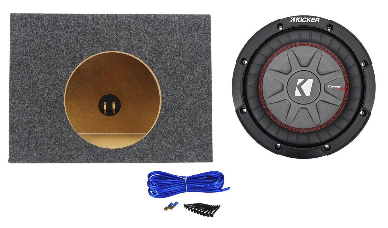 "Package:Kicker 43CWRT82 8"" 600W Subw W/2-Ohm DVC+Rockville RSST8 Single 8"" 0.44 Cu.Ft.3/4""MDF Sealed Shallow Sub Enclosure Box+Single Enclosure Wire Kit W/14 Gauge Speaker Wire+Screws+Spade Terminals"