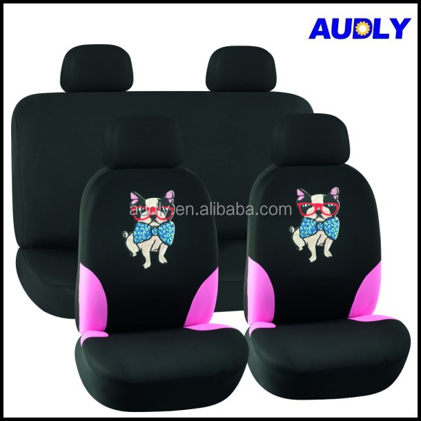 HY L3007 Animal Print Car Seat Covers In Black And Pink For Women