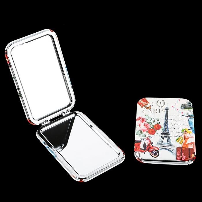 Espelho cosmético portátil do espelho quadrado personalizado do bolso do curso / espelho da composição
