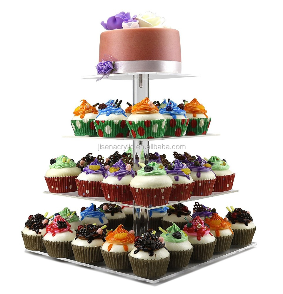Acrylic 4 Tiers Cupcake Stand and Towers Tree - Stacked Wedding Cupcake Cake Stand