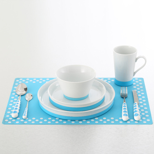 Eco friendly elegance fine porcelain dinner set with silicone mat