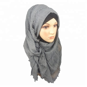 hot selling viscose and polyester blend material crinkle hijab