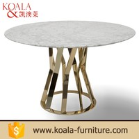 Metal base frame round marble 8 seater dining table and chair sets