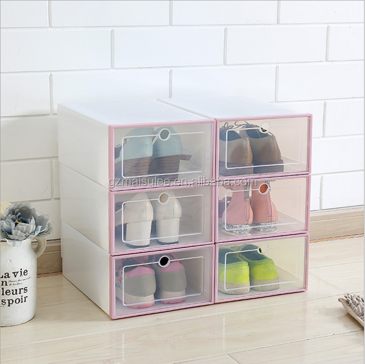 2020 hot sale Multi-Use Clear Plastic Clamshell  Stackable Foldable Moisture-proof  Shoe Containers Cosmetic Storage