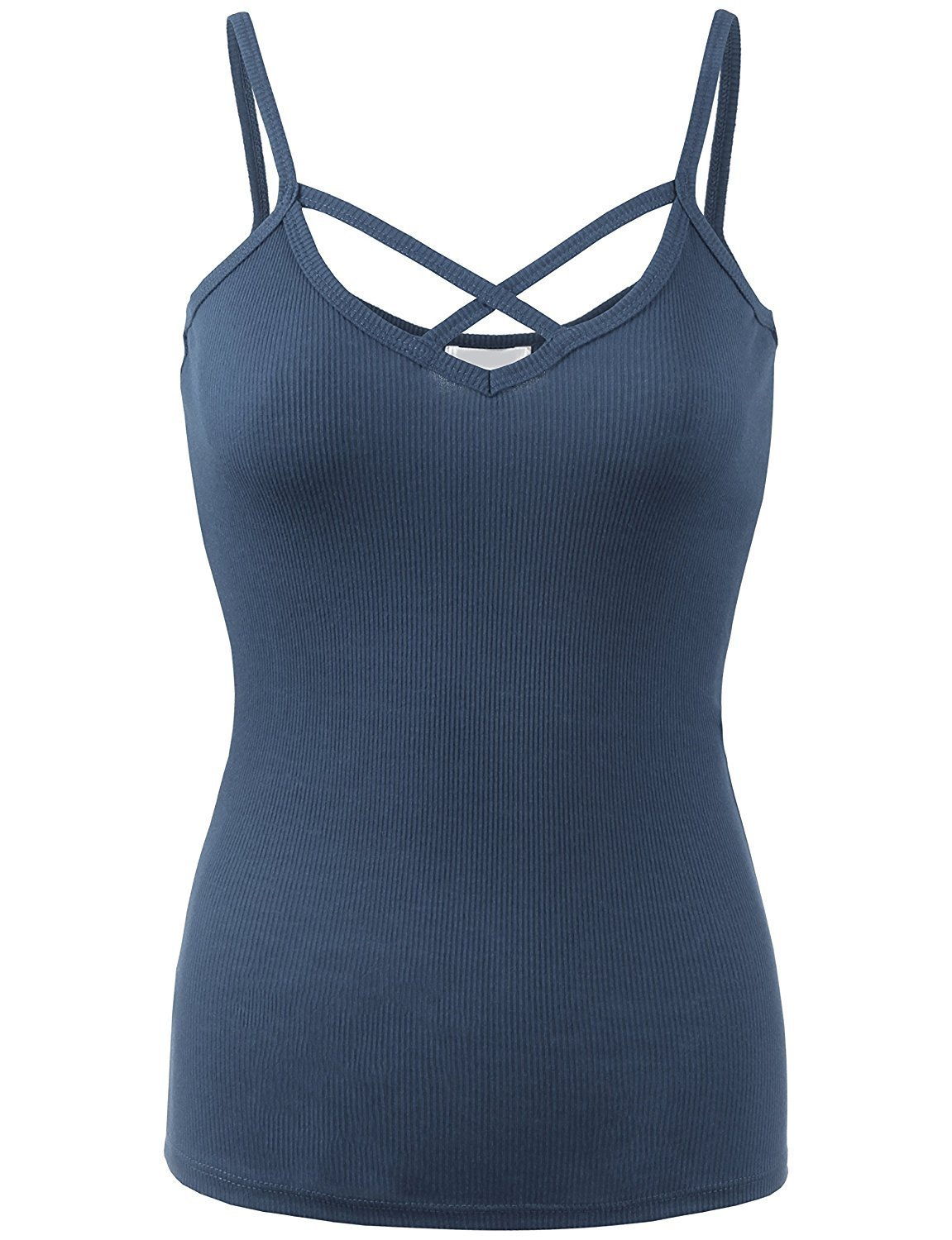 BABY-QQ Comfortable Womens Solid Ribbed Crisscross Cami Top-S-MONACO_BLUE Doubldowt469_monaco_blueSmall