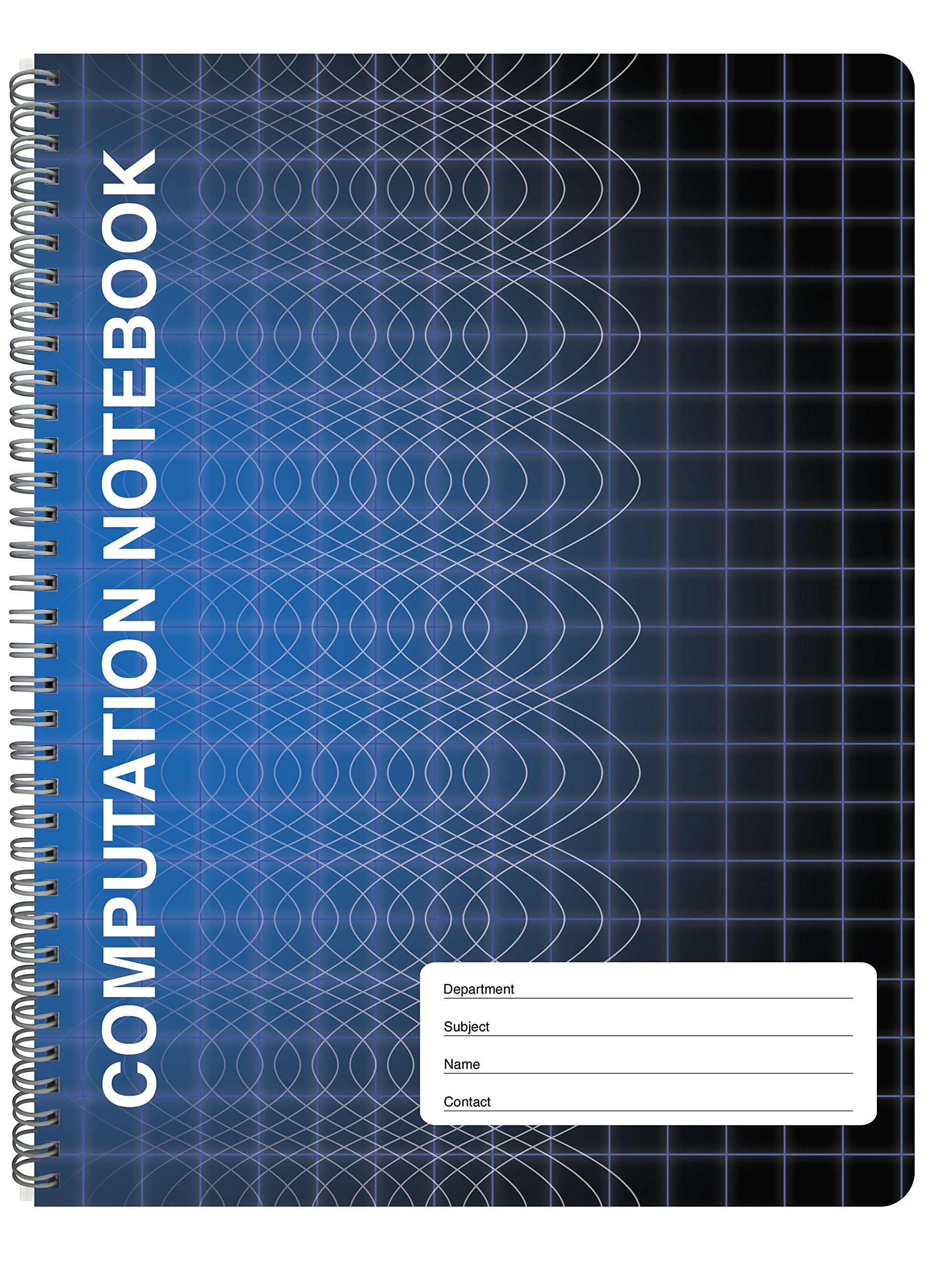 """BookFactory Computation Notebook/Engineering Notebook - 100 Pages (9 1/4"""" X 11 3/4"""") - Scientific Grid Pages, Durable Translucent Cover, Wire-O Binding (COMP-100-CWG-A-(Computation))"""