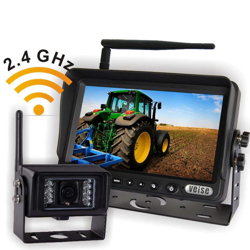 Farm tractor wireless rear view camera system
