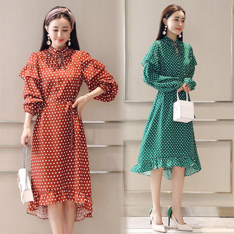 Latest Korean Design Ladies Long Casual Dress Spring Women A Line