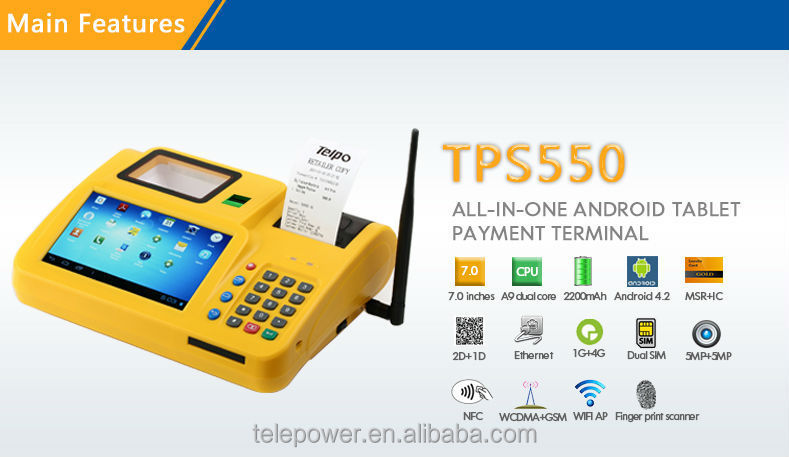 TPS550 Desktop POS Android Qualified All-in-One Touch Screen thermal Printers POS For cinema e-ticket Sports Betting Machine