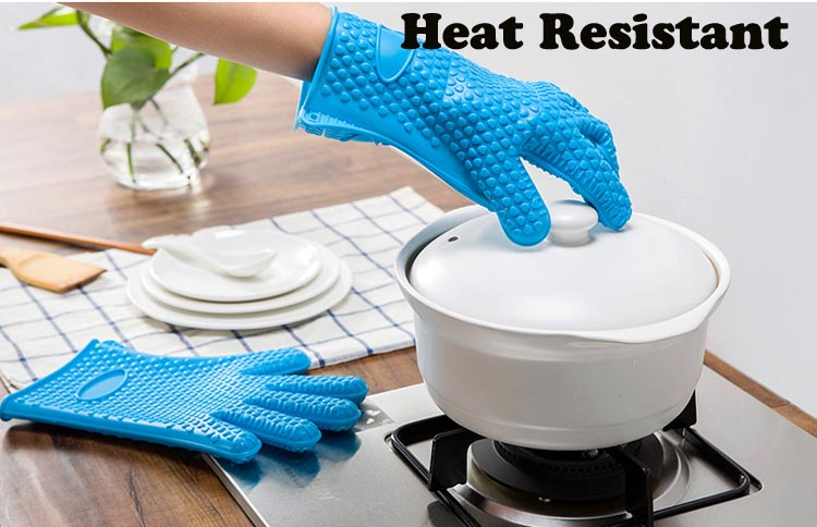 Kitchen Gadgets Heat Resistant Food Grade Cooking Baking Grilling Silicone Gloves