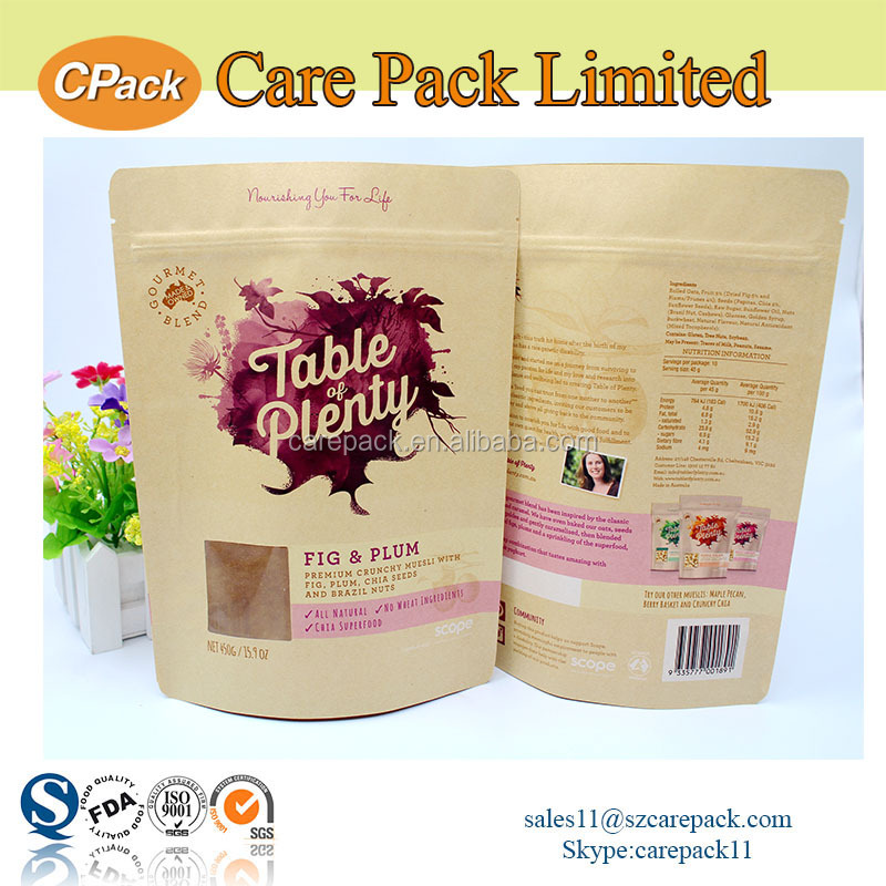 Ziplock plastic waterproof brown food packaging paper with window