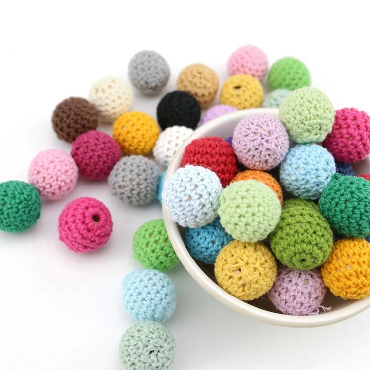 Baby Stroller Accessories Pacifier Clip Handmade Baby Wooden Crochet Beads