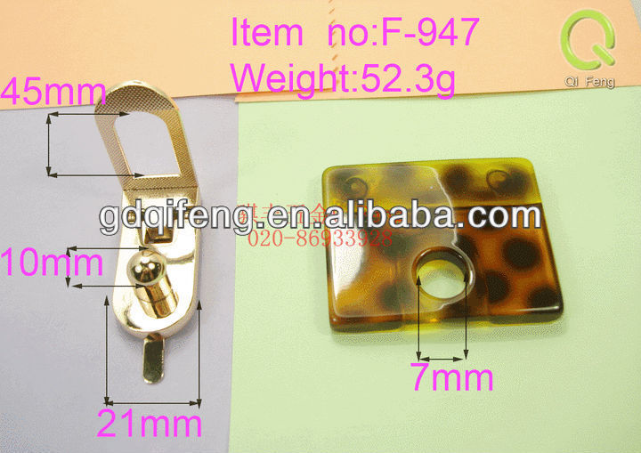 promotional item wood handle for handbag metal and resin lock F-947