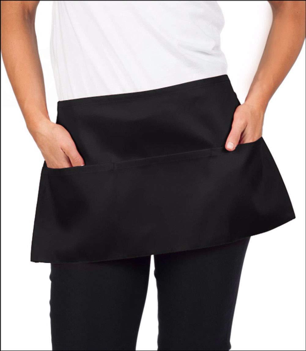 6 piece new black 12x22 waist waitress aprons heavy duty 3 pockets
