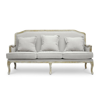 Exceptionnel Vintage French Louis Style Antiqued Linen Upholstered Three Seat Sofa